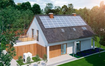 low energy family home house with solar cells off grid solar energy construction with green garden 3d render
